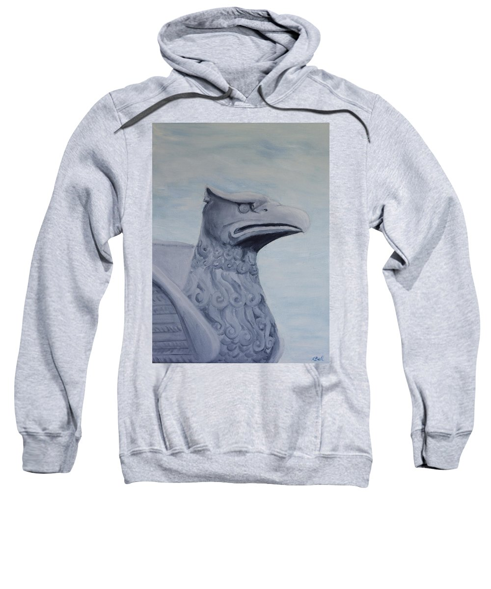 Griffon Sweatshirt featuring the painting Griffon Statue by Kathryn Bell
