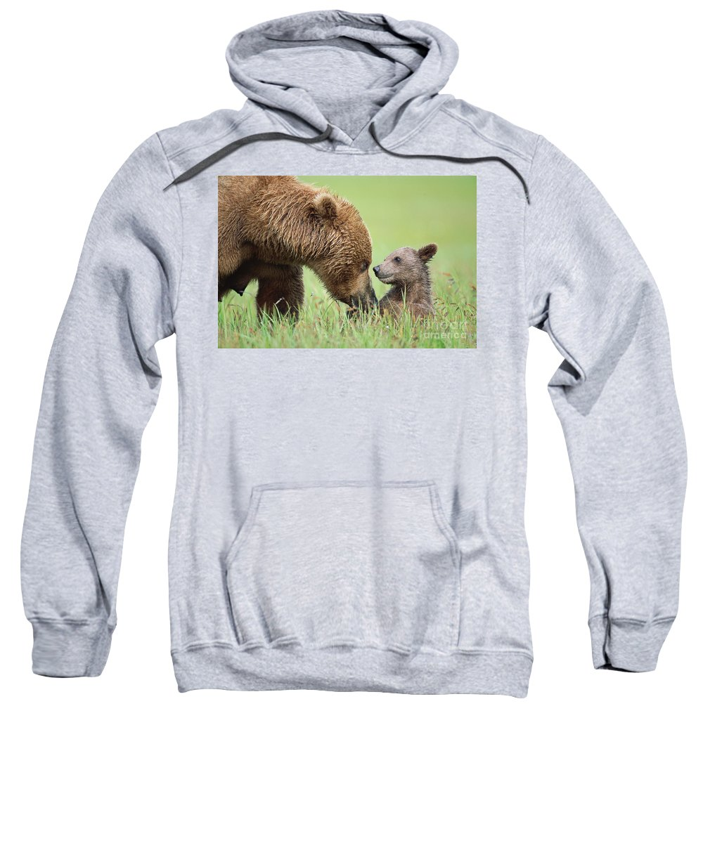 00345260 Sweatshirt featuring the photograph Grizzly Bear And Cub in Katmai by Yva Momatiuk John Eastcott