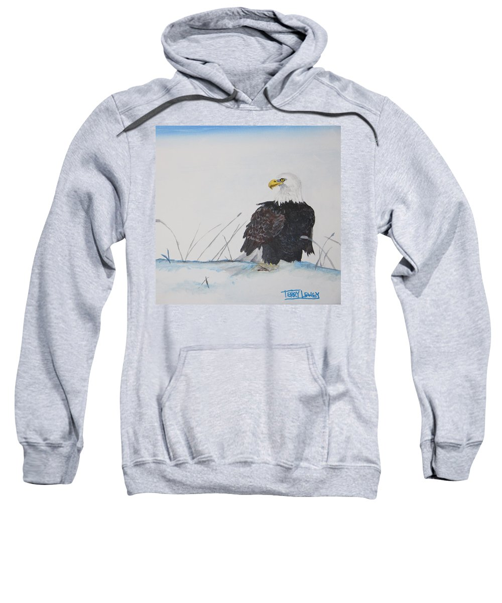 Eagle Sweatshirt featuring the painting Ground Eagle by Terry Lewey