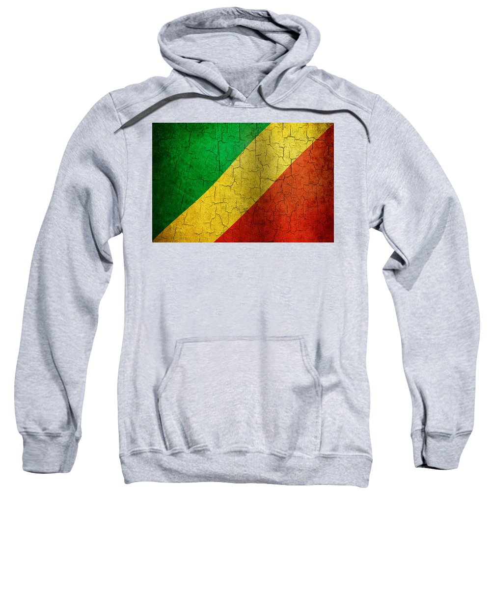 Aged Sweatshirt featuring the digital art Grunge Republic Of The Congo Flag by Steve Ball