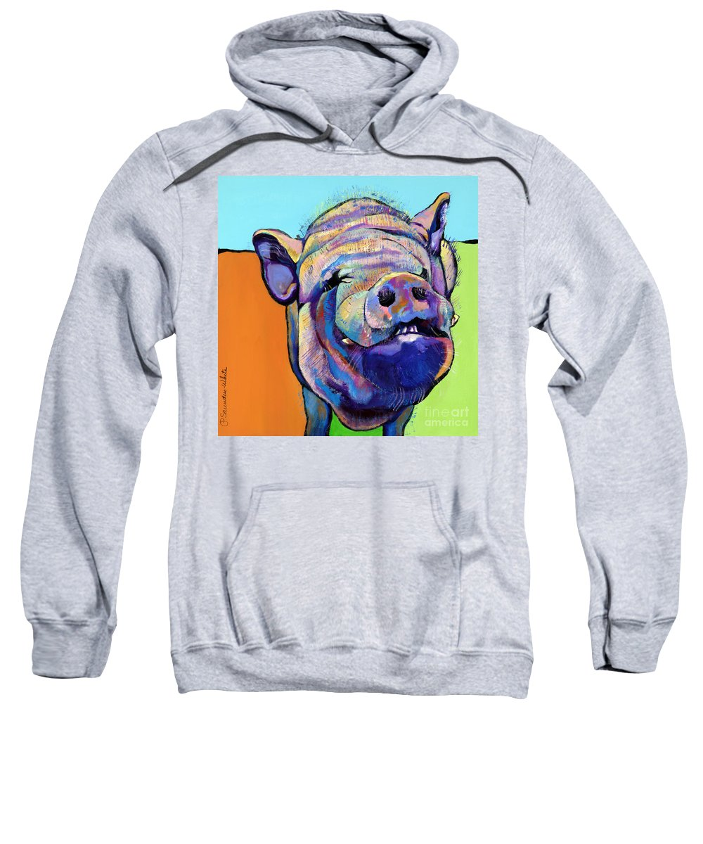 Pat Saunders-white Canvas Prints Sweatshirt featuring the painting Grunt  by Pat Saunders-White