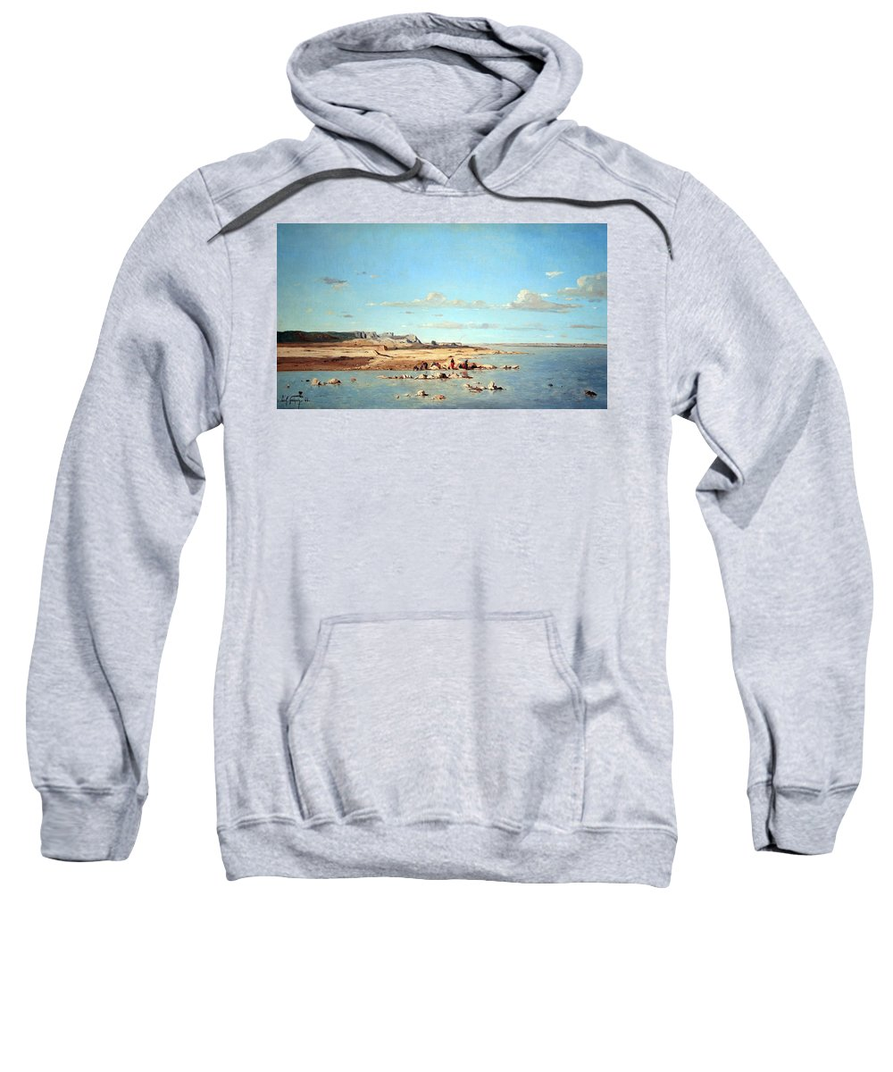 Washerwomen On The Banks Of The Durance Sweatshirt featuring the photograph Guigou's Washerwomen On The Banks Of The Durance by Cora Wandel