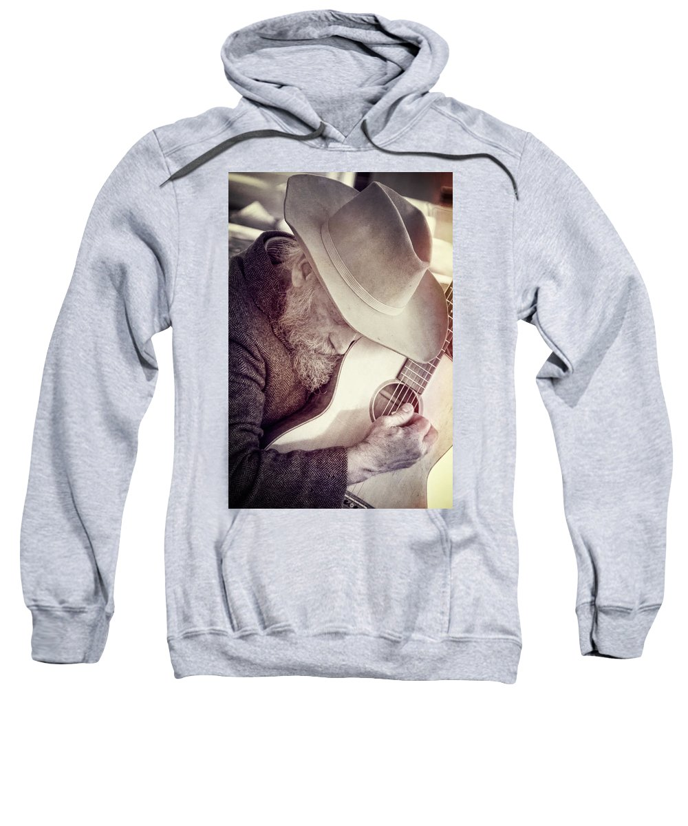 Guitar Man Sweatshirt featuring the photograph Guitar Man by Steven Bateson