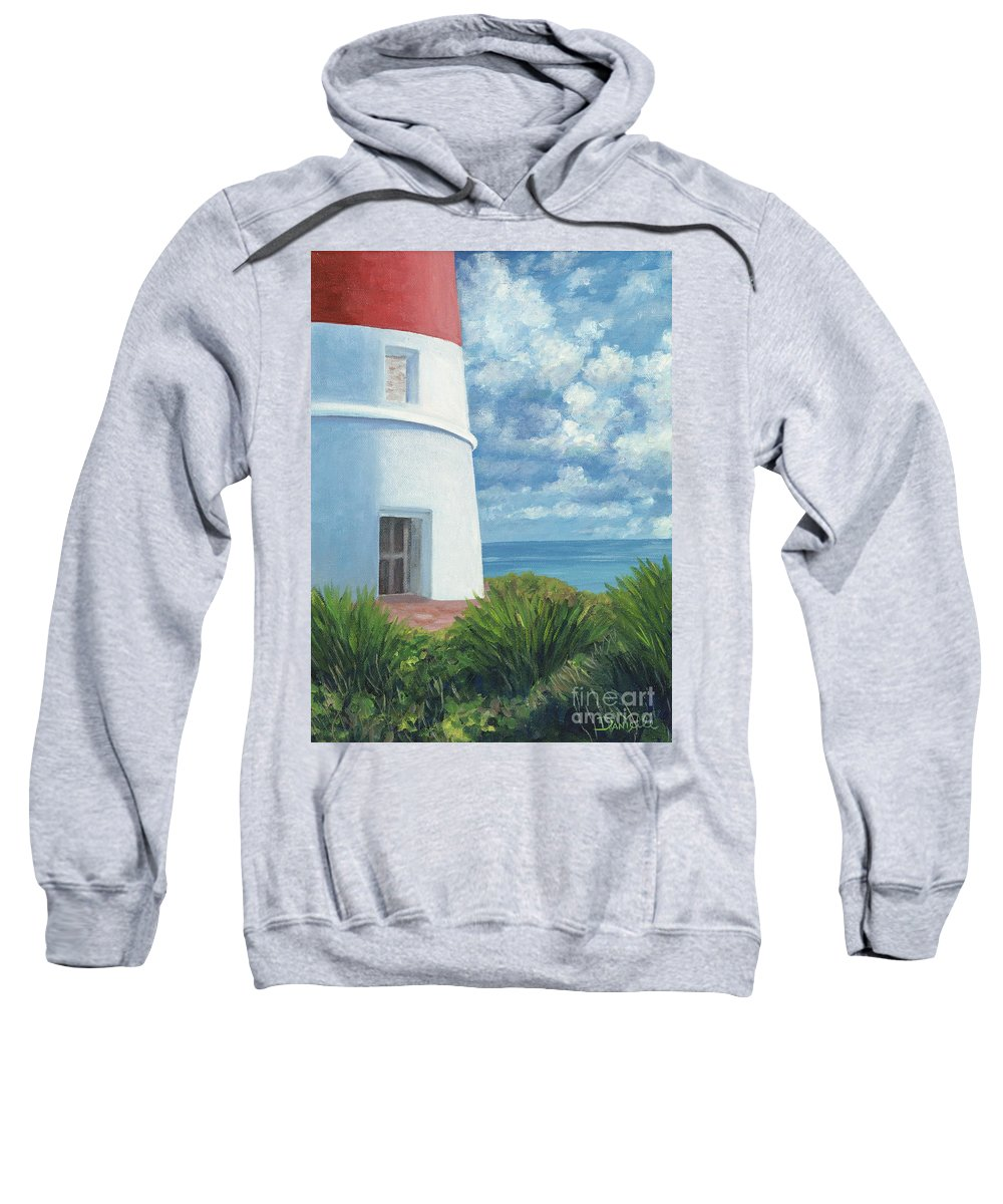 Seascape Sweatshirt featuring the painting Gun Cay Lighthouse by Danielle Perry