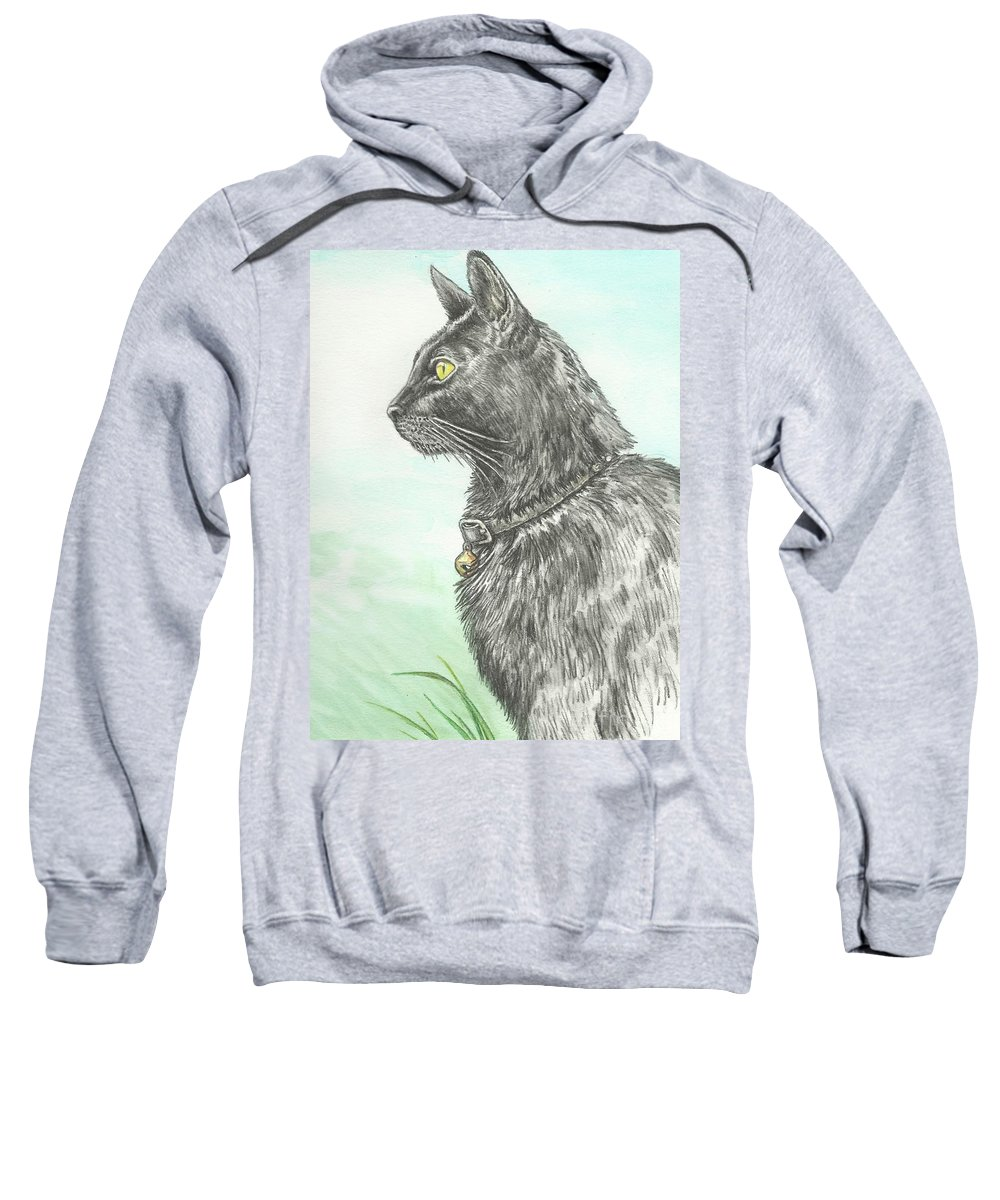 Cat Portrait Sweatshirt featuring the painting Hades Surveying His Domain by Sue Bonnar