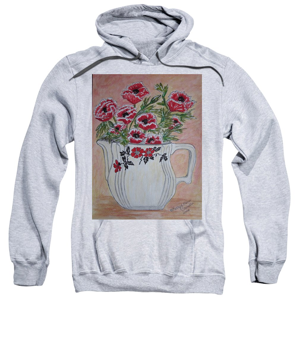 Hall China Sweatshirt featuring the painting Hall China Red Poppy And Poppies by Kathy Marrs Chandler