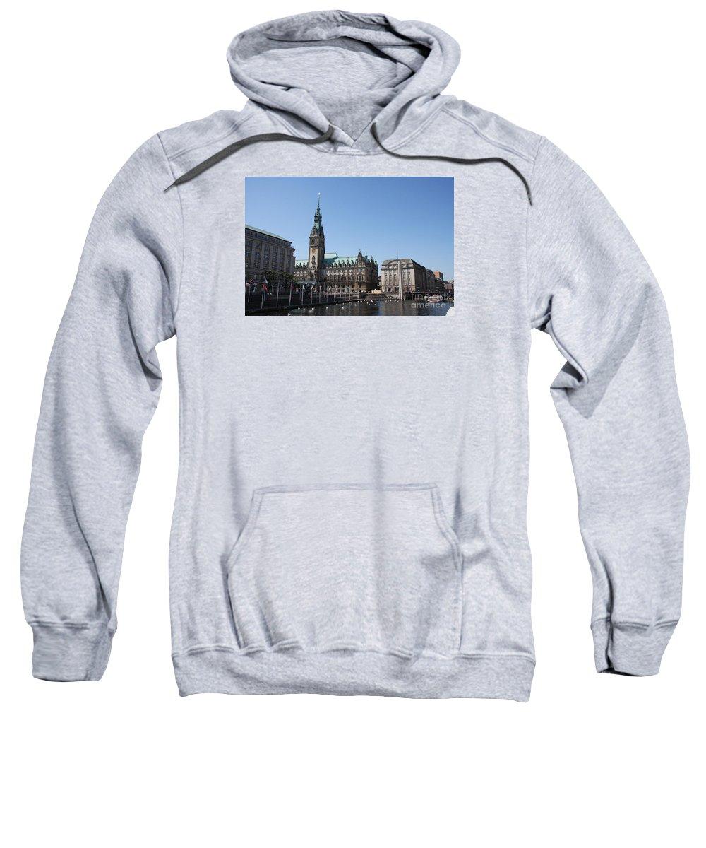 Hamburg Sweatshirt featuring the photograph Hamburg - City Hall With Fleet - Germany by Christiane Schulze Art And Photography