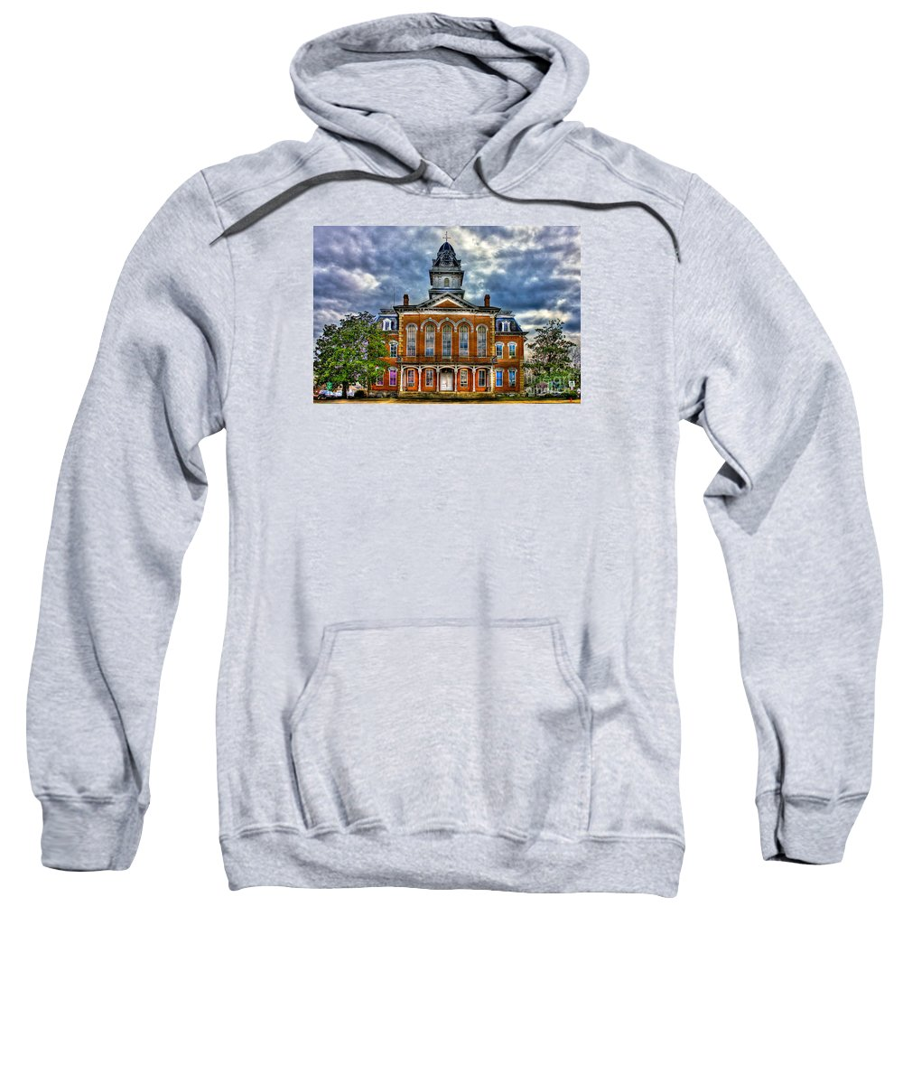 Reid Callaway Hancock County Courthouse Sweatshirt featuring the photograph Before It Burned Hancock County Courthouse Art by Reid Callaway