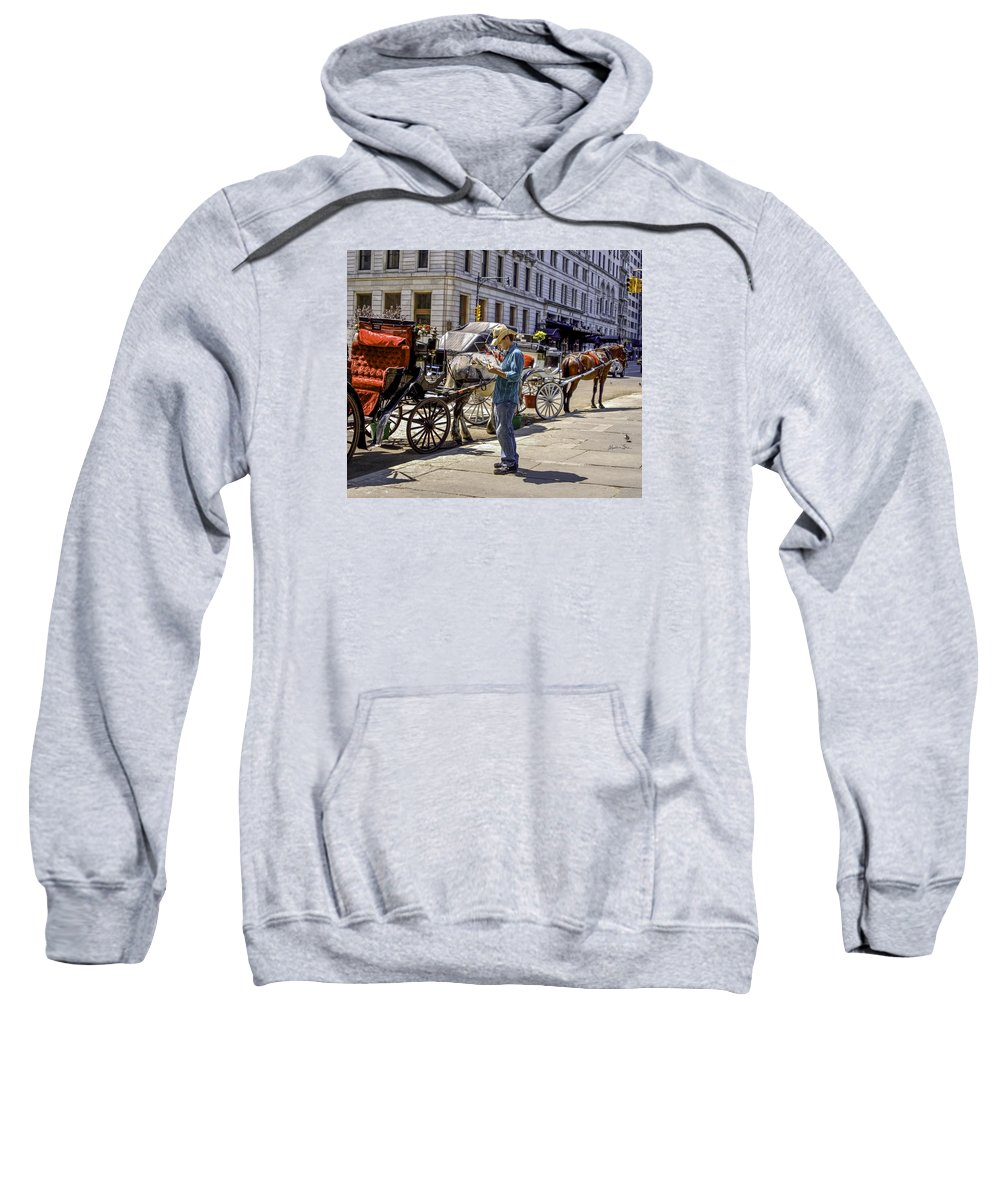 Man Sweatshirt featuring the photograph Handsome Hansom Driver by Madeline Ellis