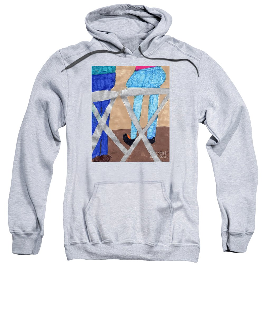 2 People On Benches Sweatshirt featuring the mixed media Hangin Out by Elinor Helen Rakowski