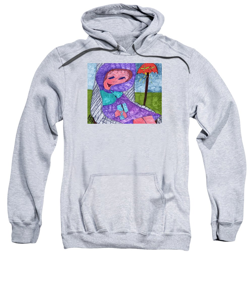 Purple Attire For This Lady Sitting In A Chair. Sweatshirt featuring the mixed media Happy And Content by Elinor Helen Rakowski