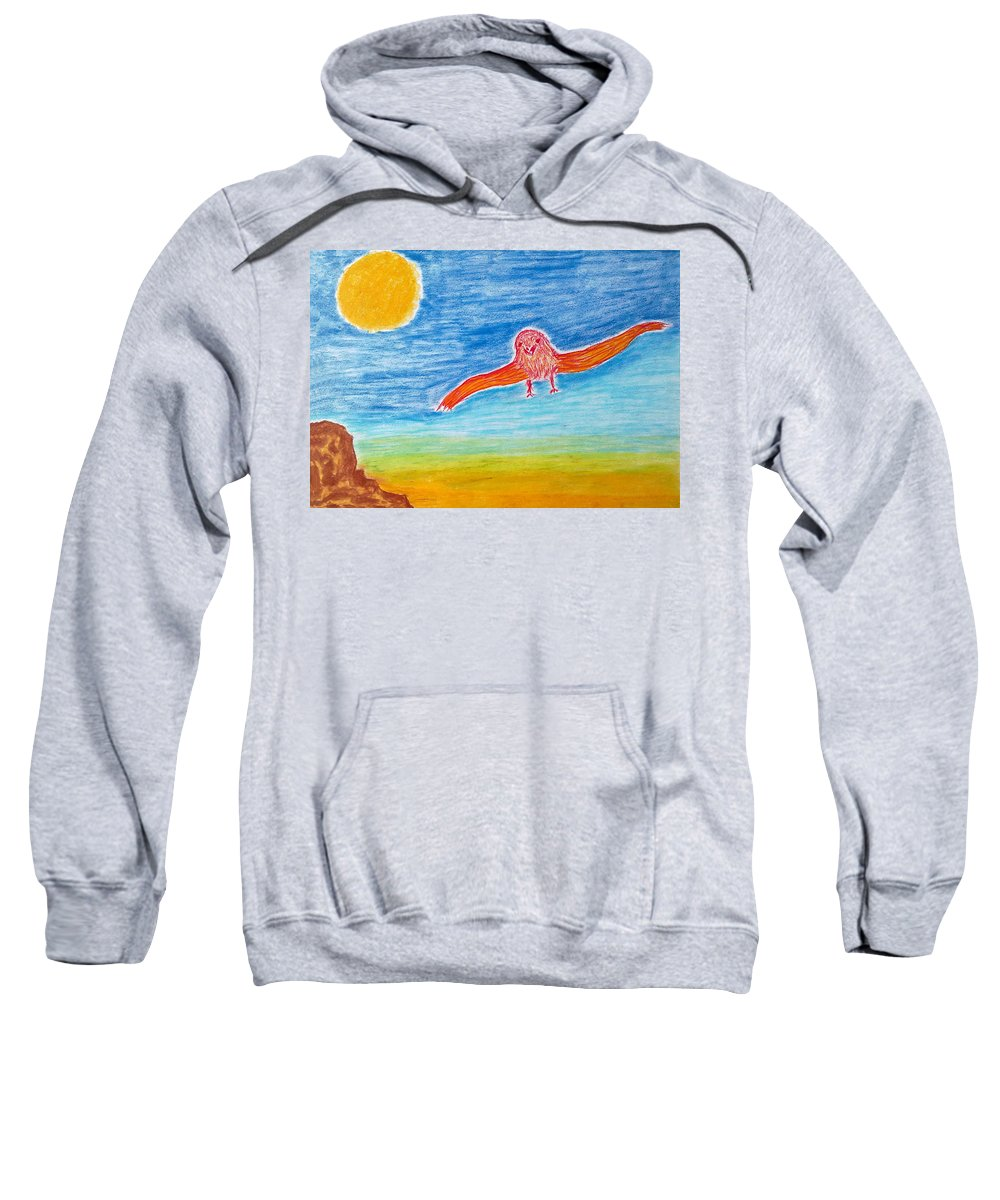 Young Bird Sweatshirt featuring the painting Happy Days by Michael Woolcock