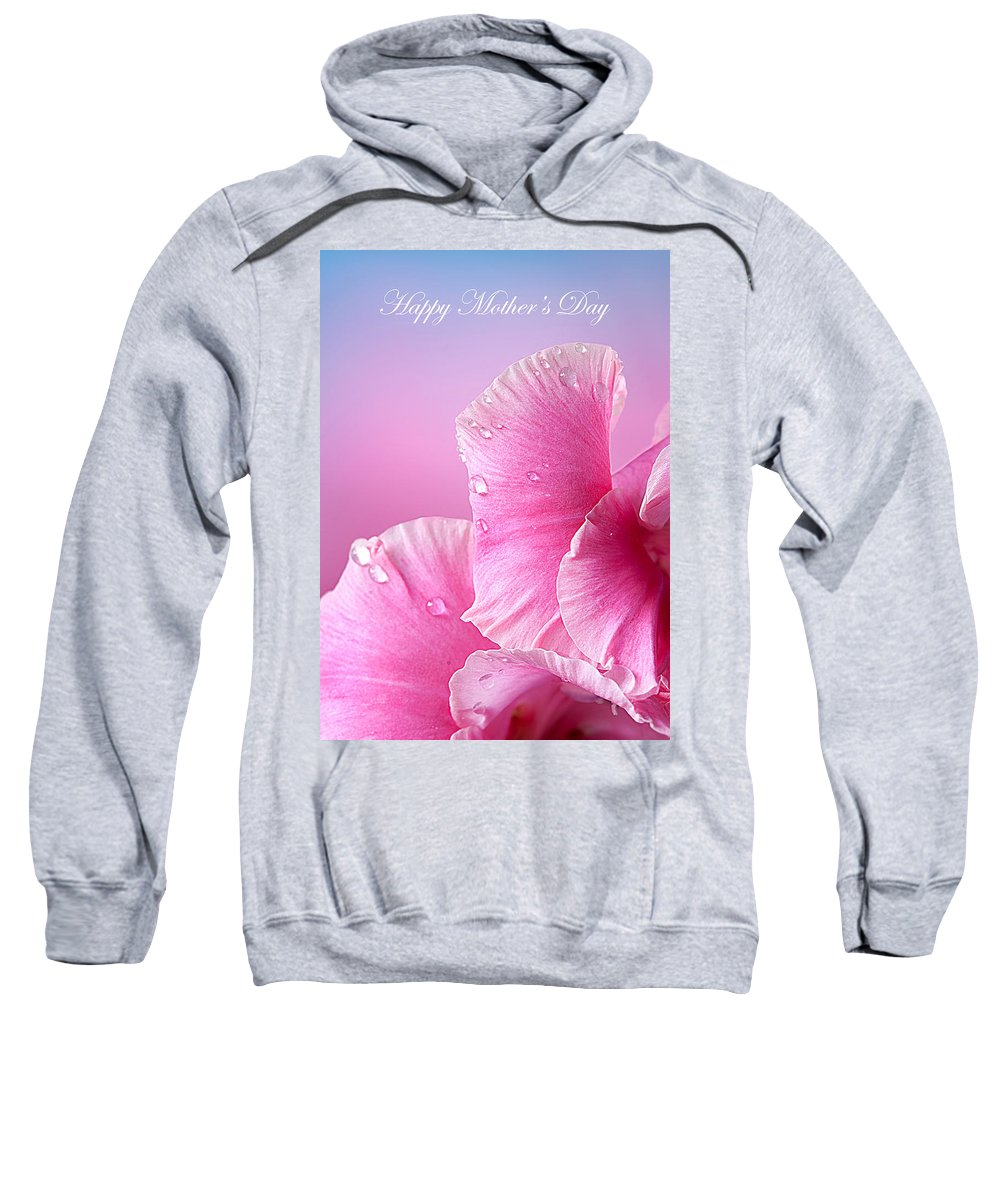 Mother's Day Sweatshirt featuring the photograph Happy Mother's Day Macro Pink Rose Petals by Randall Branham