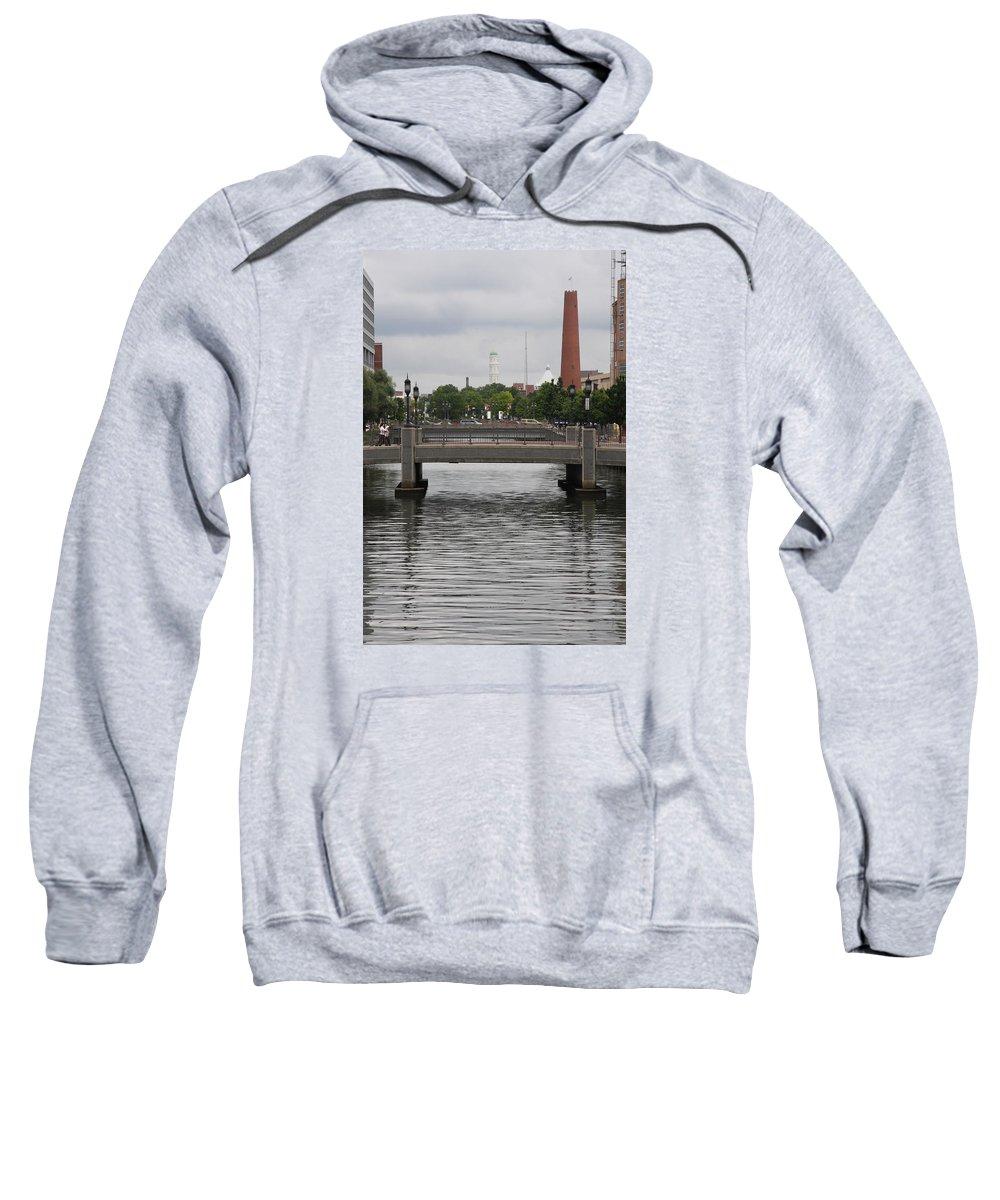 Pedestrian Bridge Sweatshirt featuring the photograph Harbor Bridge - Baltimore Harbor by Christiane Schulze Art And Photography