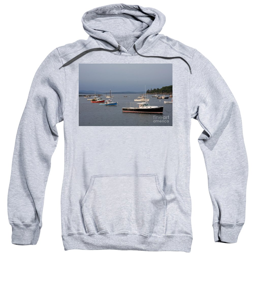 Harbor Sweatshirt featuring the photograph Harbor Scene I - Maine by Christiane Schulze Art And Photography