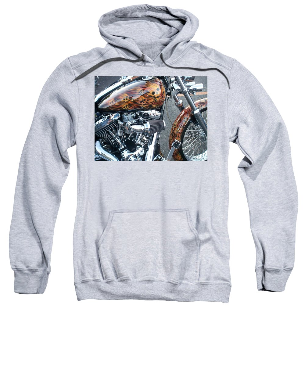 Motorcycles Sweatshirt featuring the photograph Harley Close-up Skull Flame by Anita Burgermeister