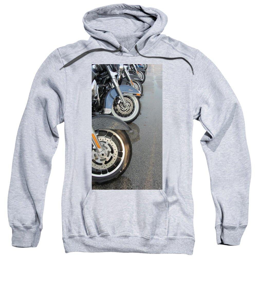 Motorcycles Sweatshirt featuring the photograph Harley Line Up Rain by Anita Burgermeister
