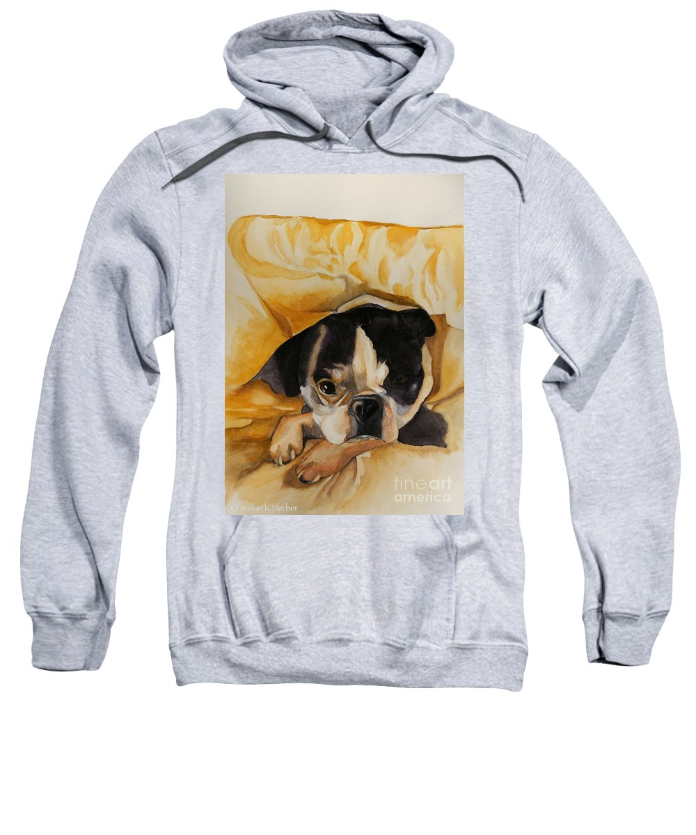 Animal Sweatshirt featuring the painting Harold's Bed by Susan Herber
