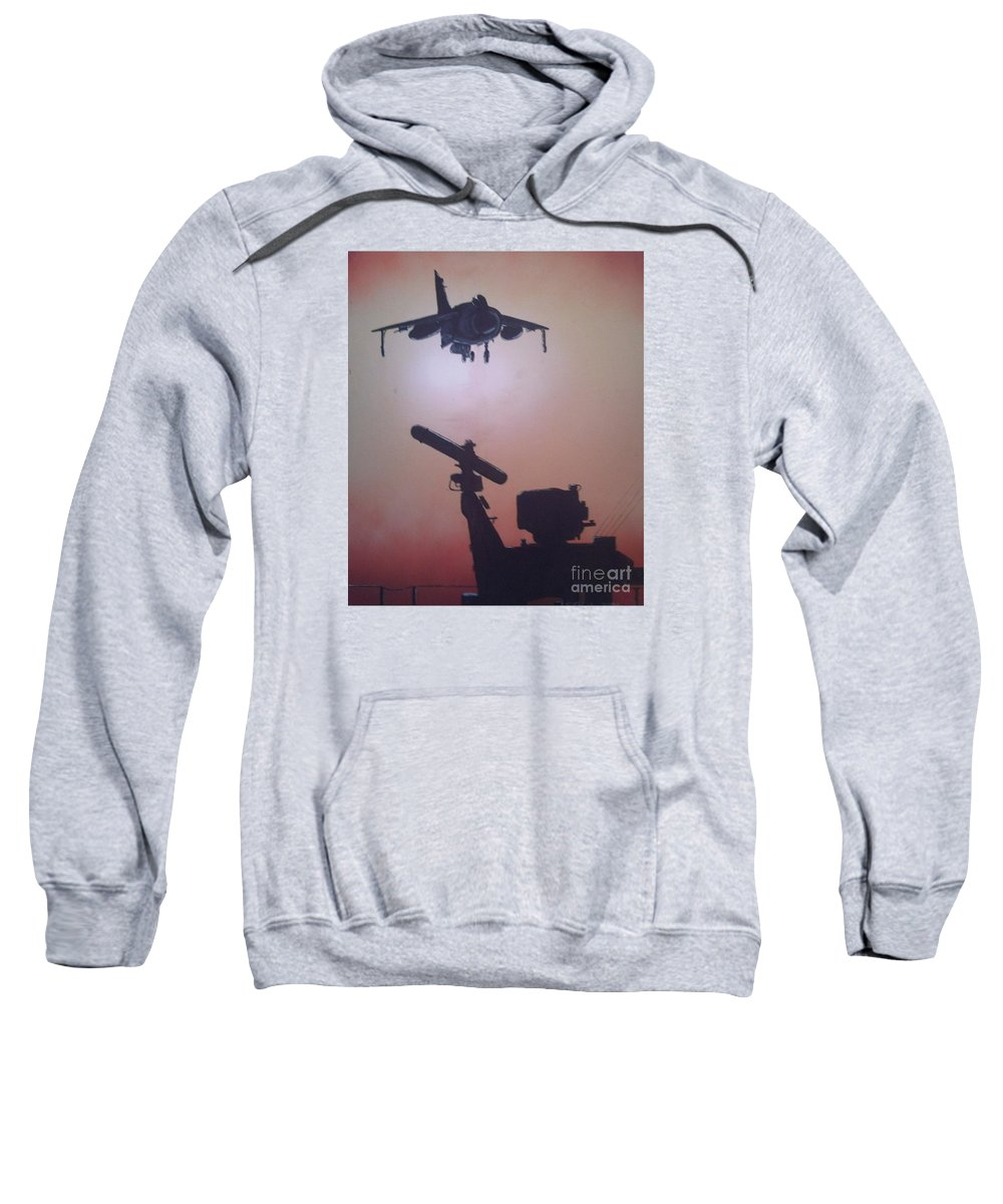 Jets Sweatshirt featuring the painting Harrier On Finals by Richard John Holden RA