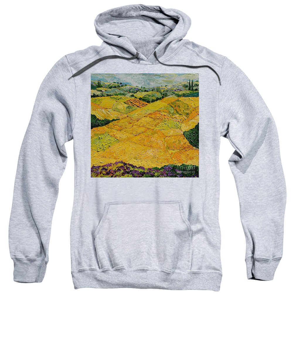 Landscape Sweatshirt featuring the painting Harvest Joy by Allan P Friedlander