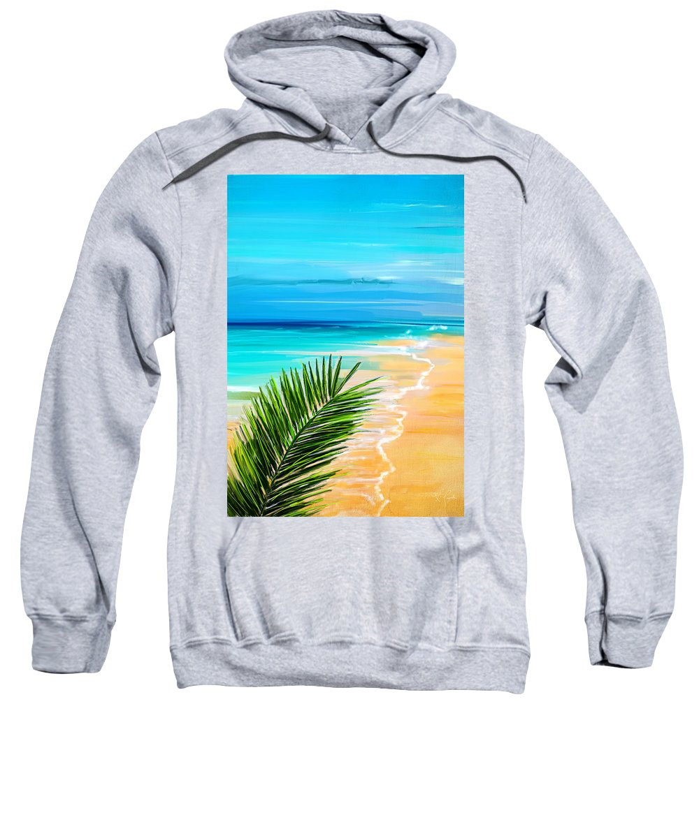 Seascapes Abstract Sweatshirt featuring the painting Haven Of Bliss by Lourry Legarde