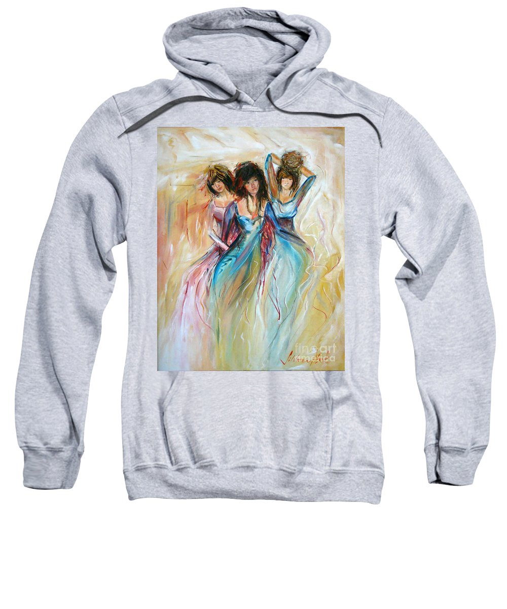 Contemporary Art Sweatshirt featuring the painting Having Fun by Silvana Abel