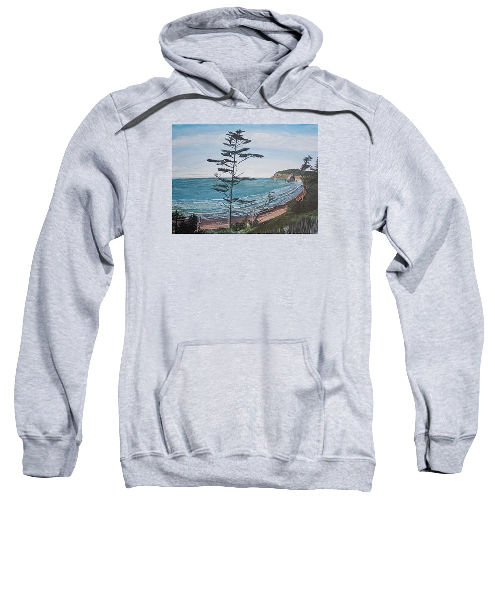 Hay Stack Rock Sweatshirt featuring the painting Hay Stack Rock From The South On The Oregon Coast by Ian Donley