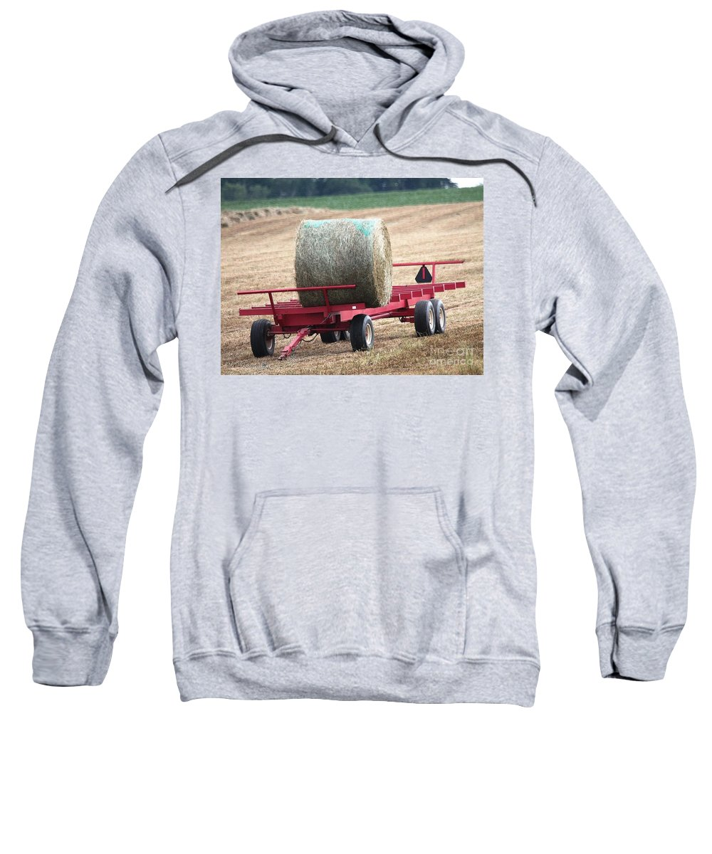 Farm Sweatshirt featuring the painting Hay Wagon by J McCombie