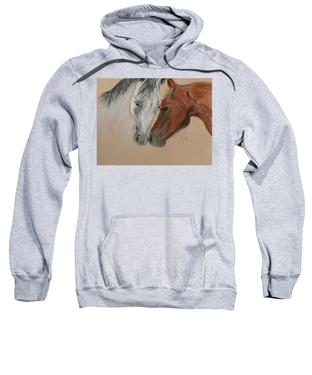 Horse Sweatshirt featuring the drawing Head To Head by Cori Solomon