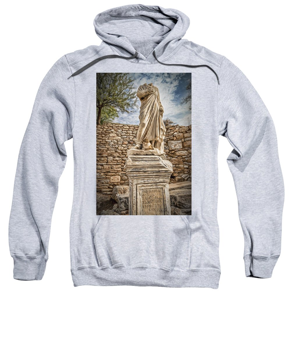 Aegean Sweatshirt featuring the photograph Headless Statue by Maria Coulson