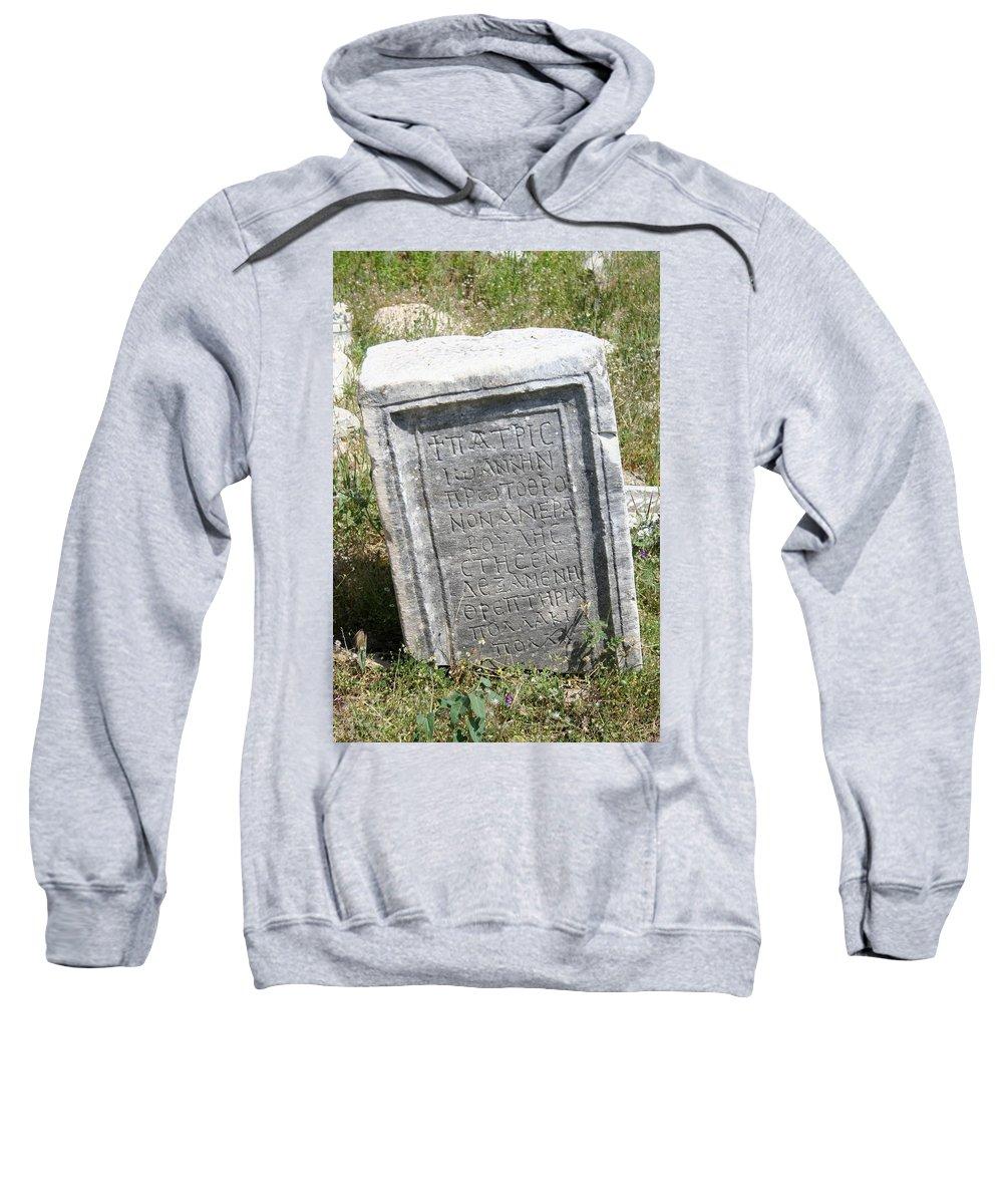 Aphrodisias Sweatshirt featuring the photograph Headstone In The Basilica Church Aphrodisias by Taiche Acrylic Art