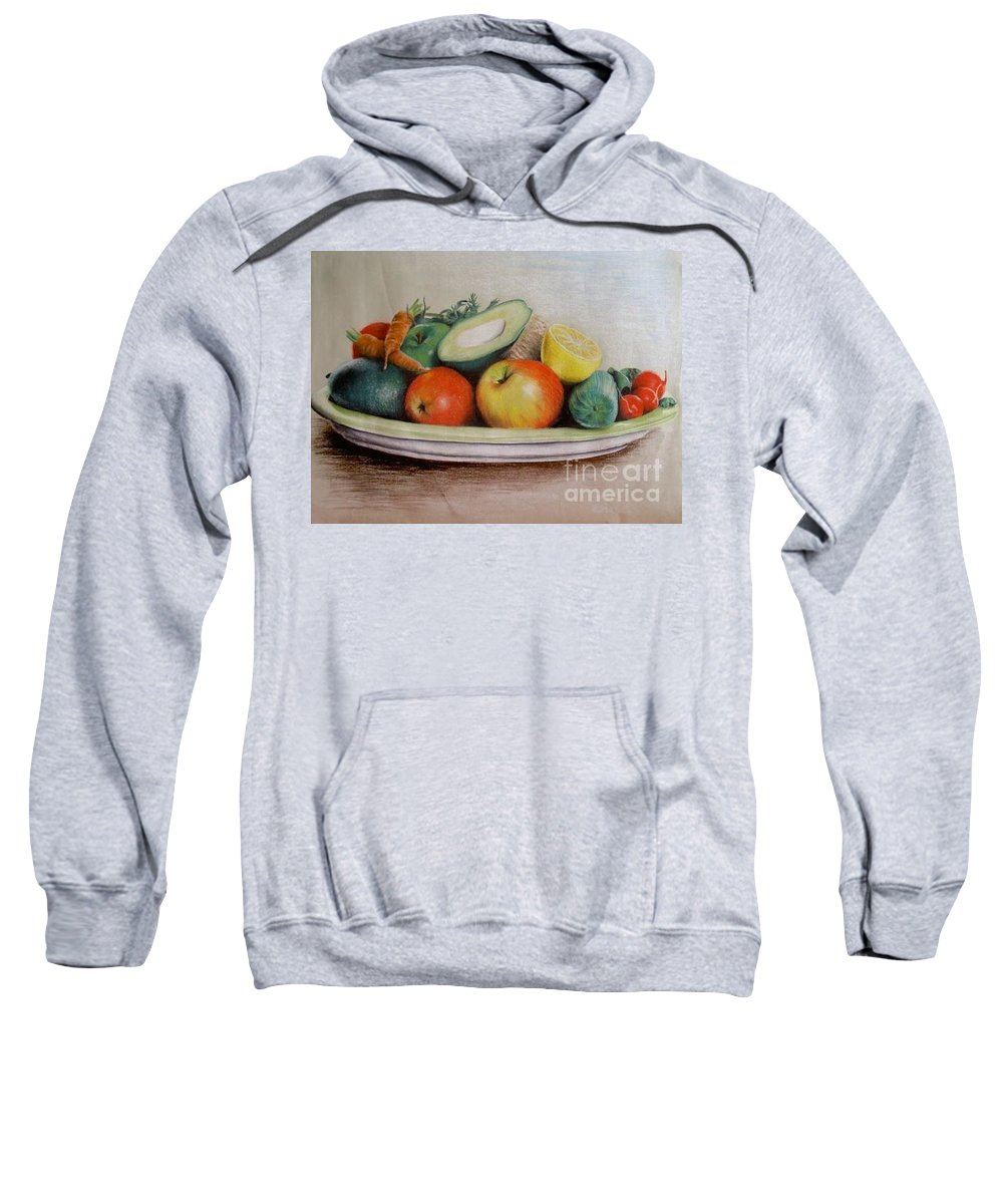 Fruit Sweatshirt featuring the pastel Healthy Plate by Katharina Filus