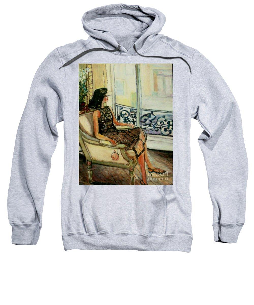 Figurative Sweatshirt featuring the painting Heddy by Helena Bebirian