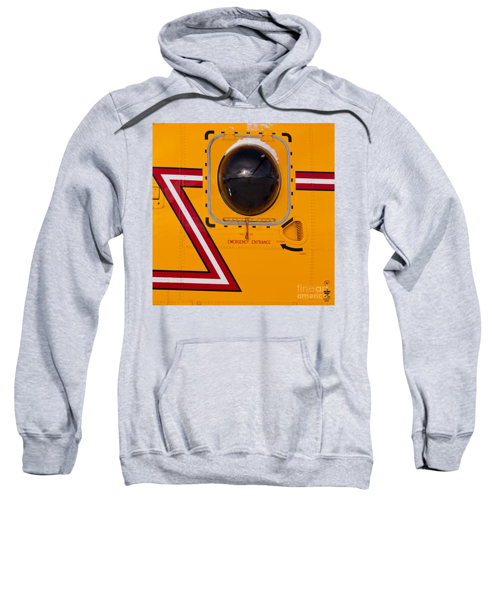 Abstract Sweatshirt featuring the photograph Helicopter Porthole Window Mirrors Rotor Blade by Stephan Pietzko