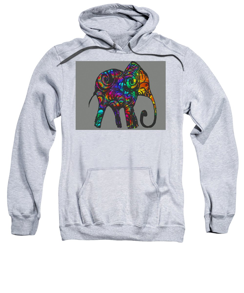 Elephant Sweatshirt featuring the drawing Herd Of Colors by Ellsbeth Page