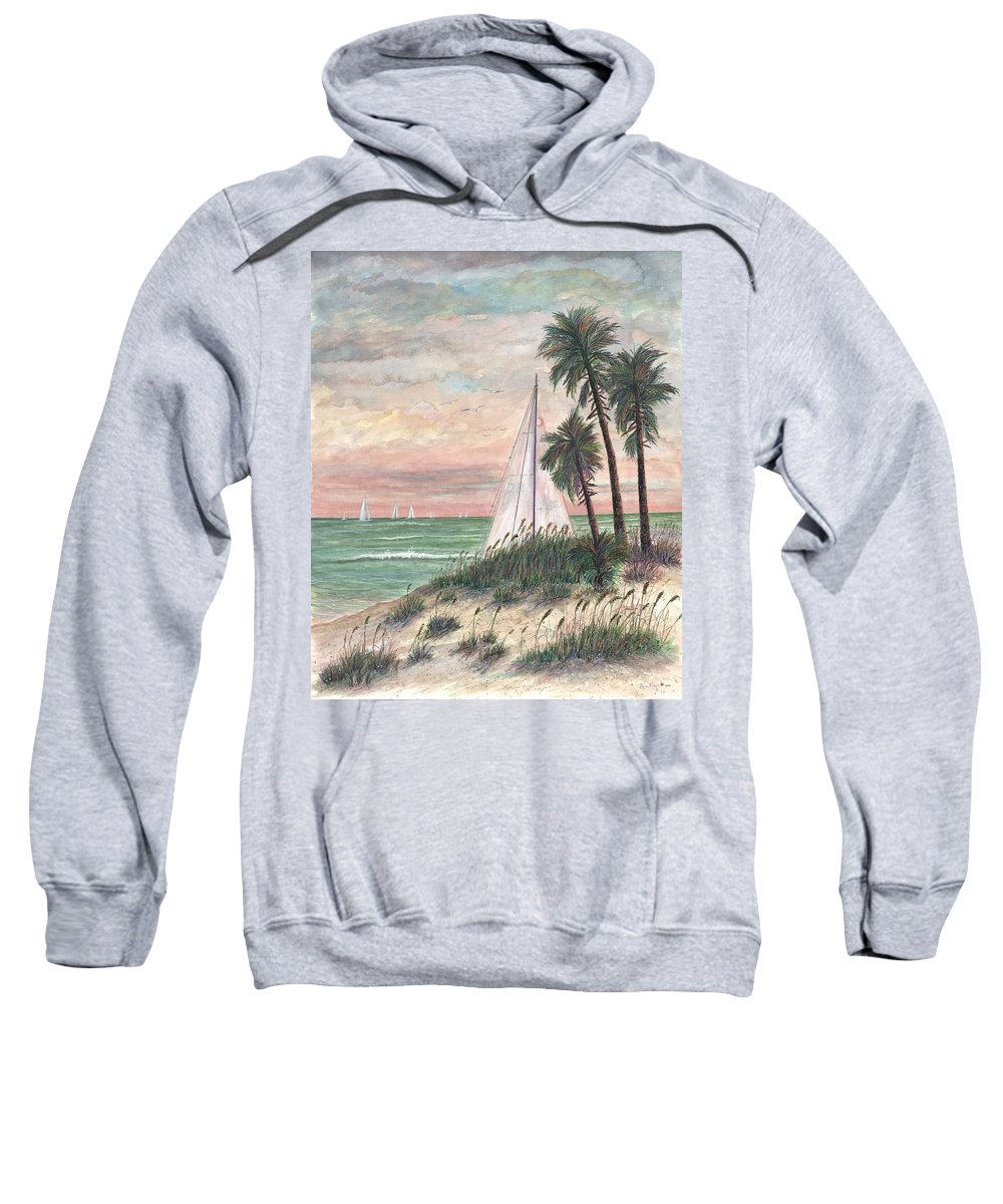 Sailboats; Palm Trees; Ocean; Beach; Sunset Sweatshirt featuring the painting Hideaway by Ben Kiger