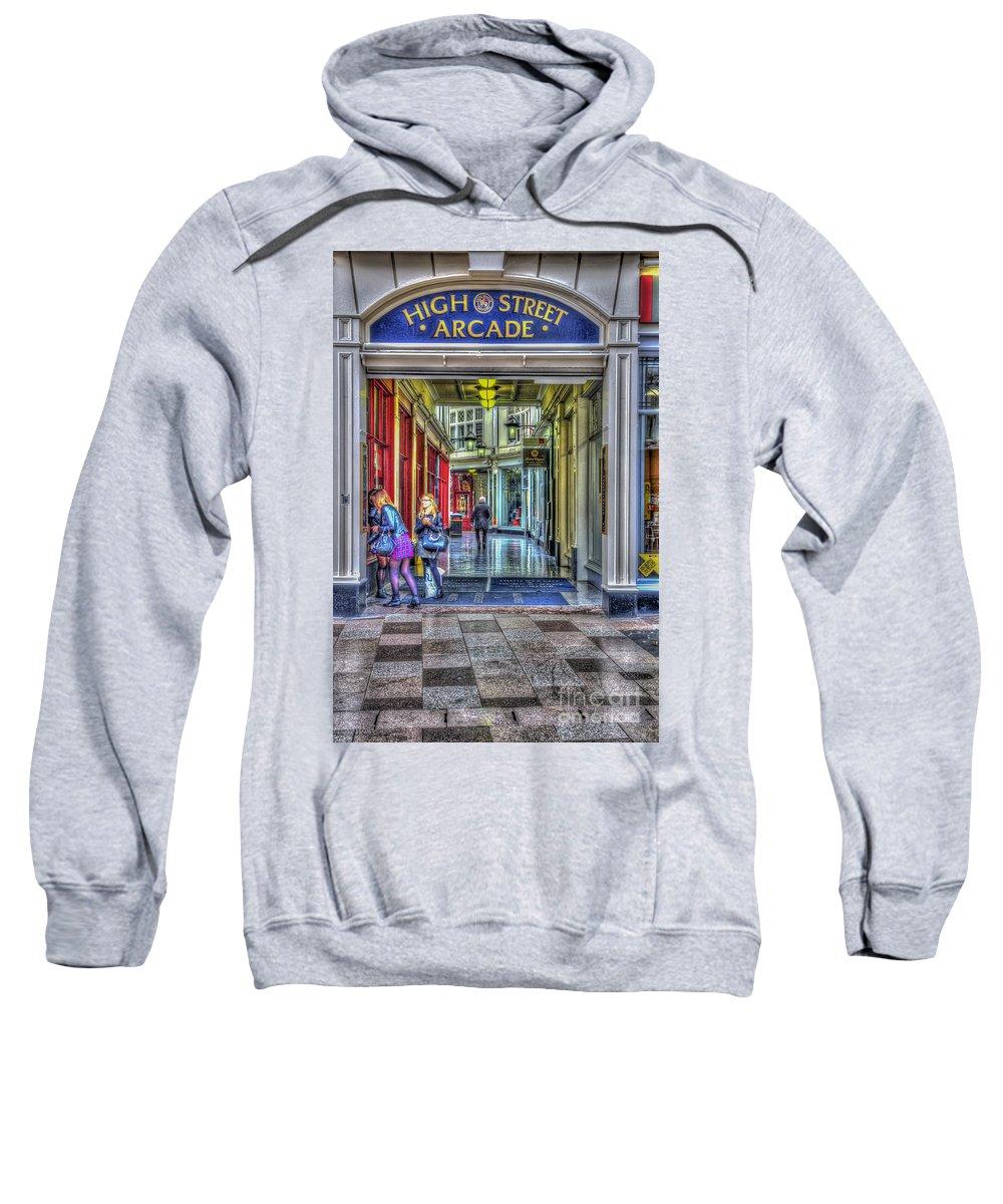 High Street Arcade Cardiff Sweatshirt featuring the photograph High Street Arcade Cardiff by Steve Purnell