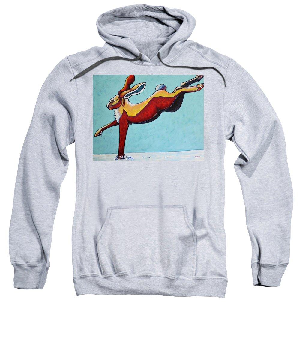 Wildlife Sweatshirt featuring the painting High Tailing It - Jackrabbit by Joe Triano