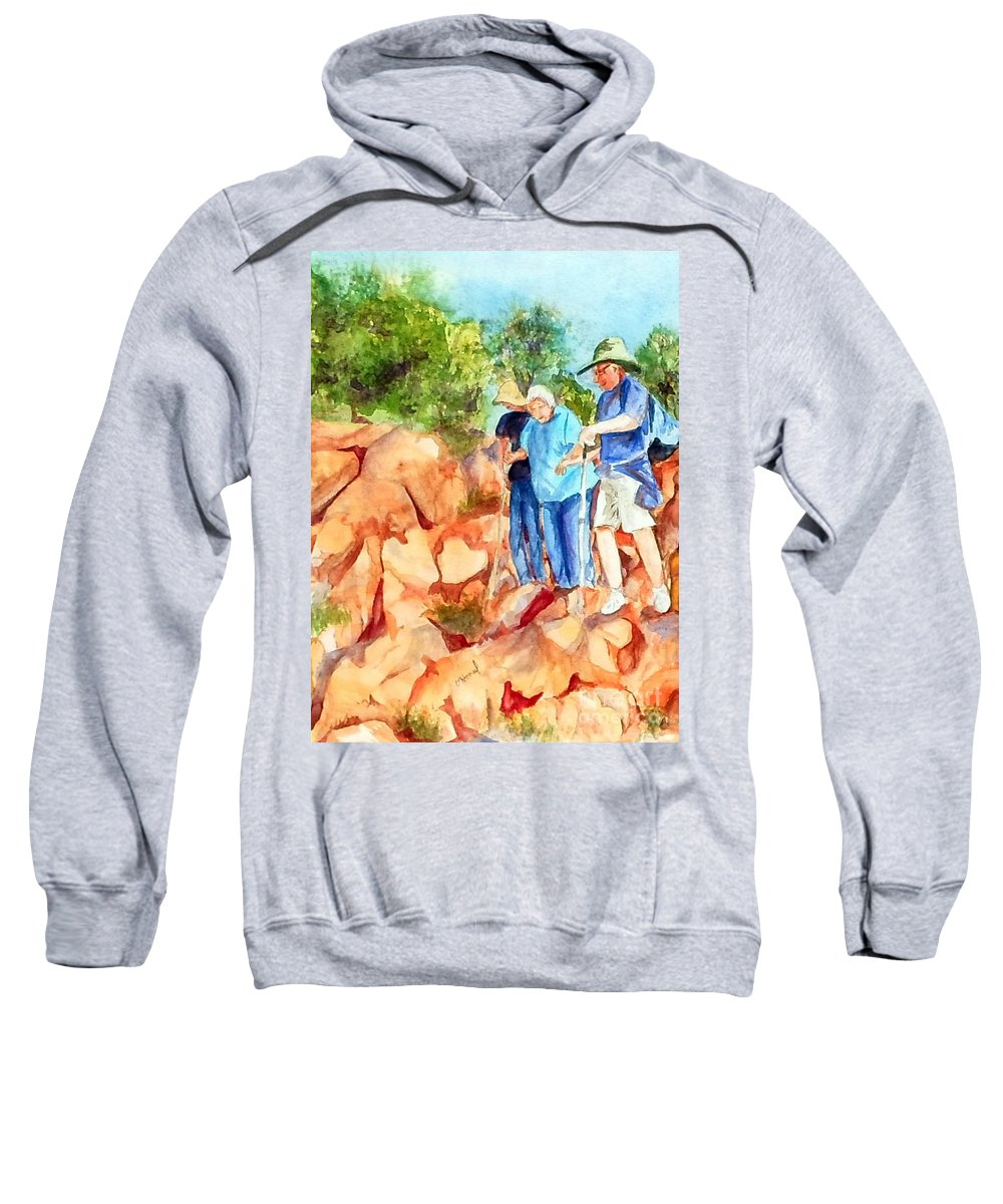 Hiking Sweatshirt featuring the painting Hiking Apparition Hill Medjugorje by Vicki Housel