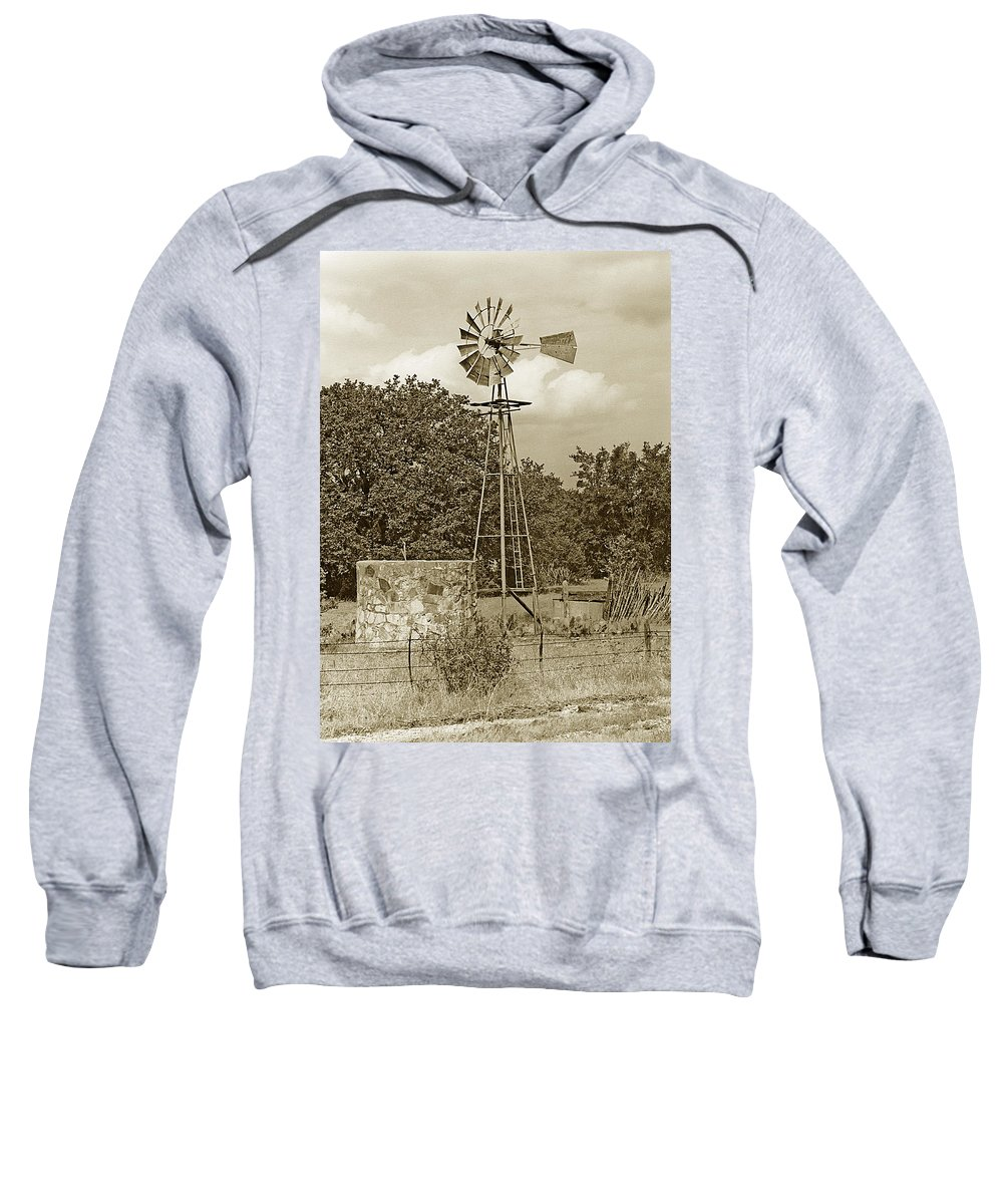 Windmills Sweatshirt featuring the photograph Hill Country Windmill by Jim Smith