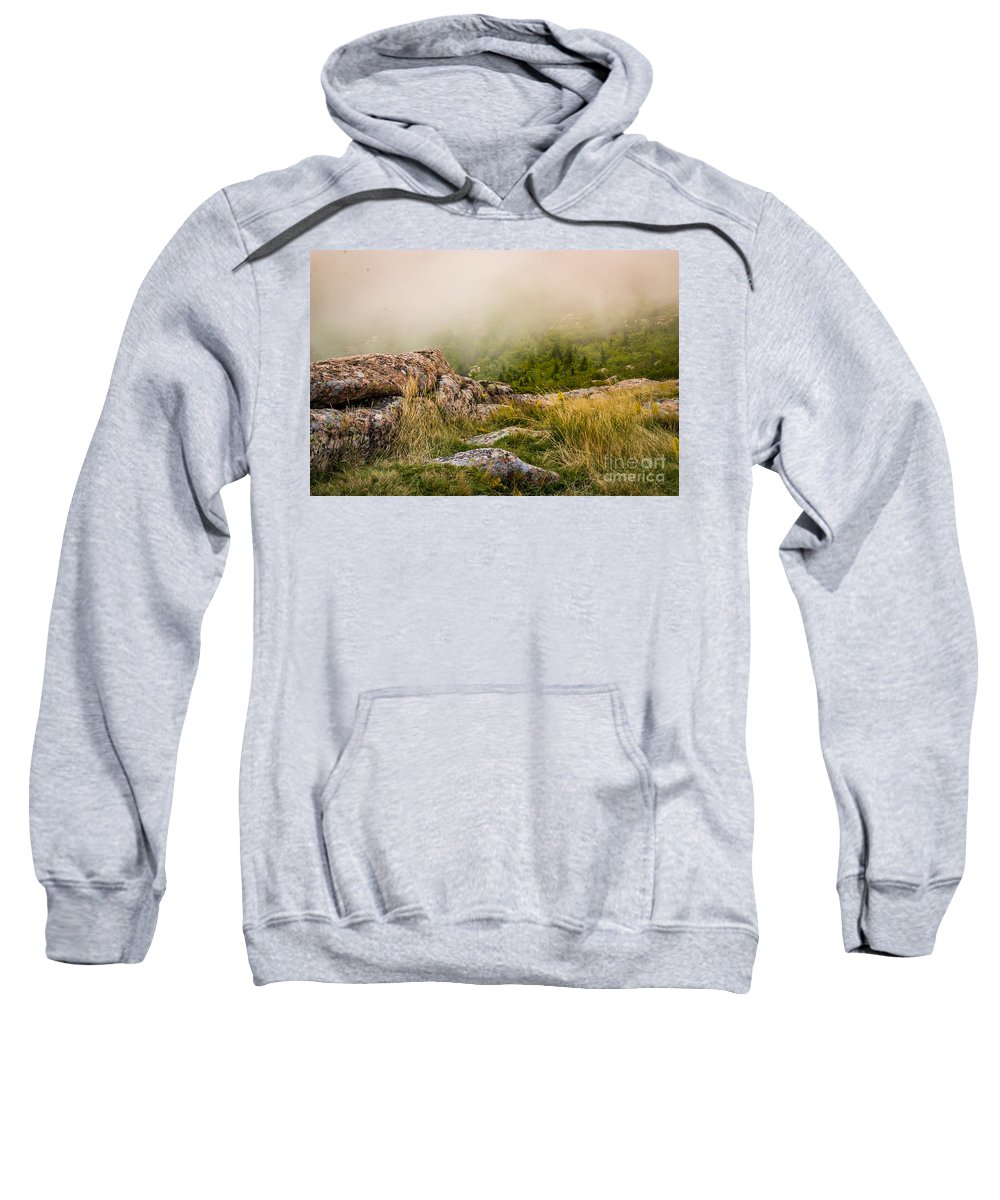 Acadia Sweatshirt featuring the photograph Hillside Haze by DAC Photography