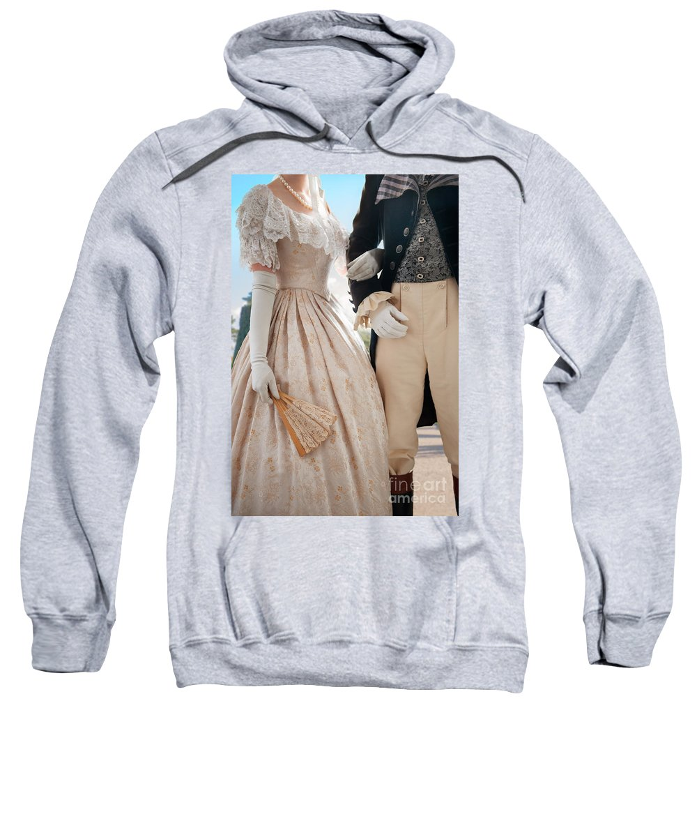 Regency Sweatshirt featuring the photograph Historical Couple Linking Arms by Lee Avison