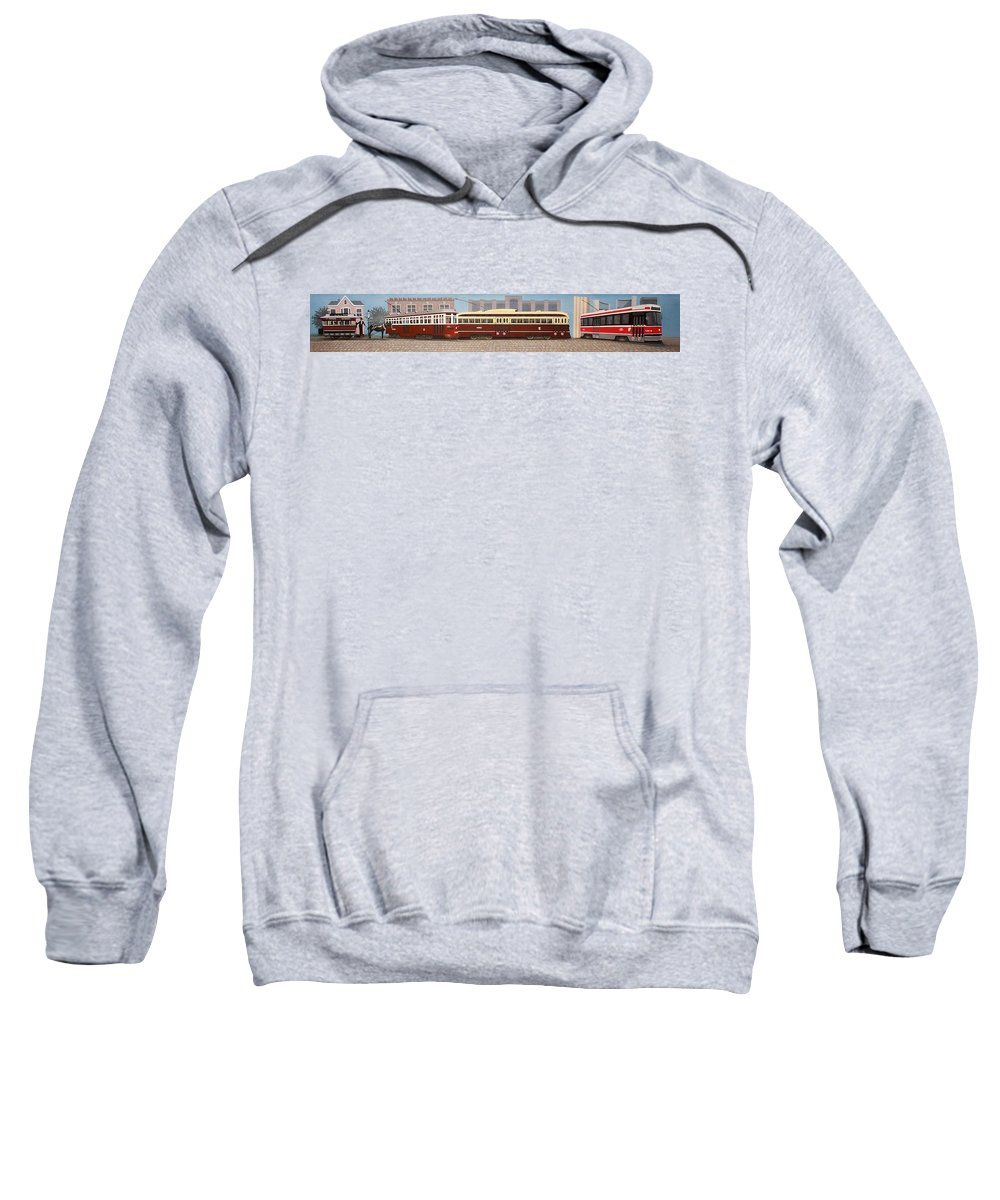 Streetscapes Sweatshirt featuring the painting History Of The Toronto Streetcar by Kenneth M Kirsch