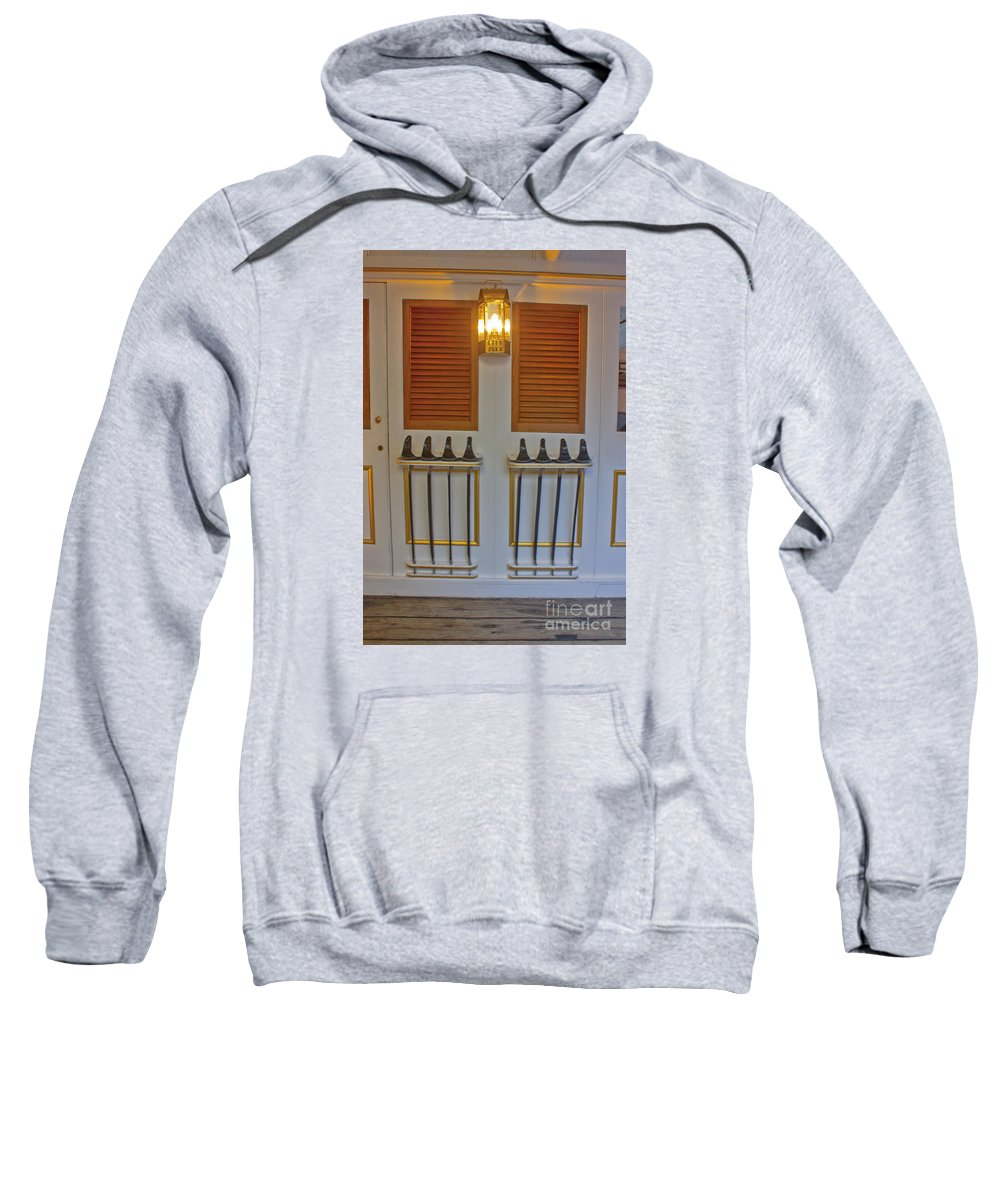 Hms Warrior Sweatshirt featuring the photograph Hms Warrior Cutlasses by Terri Waters