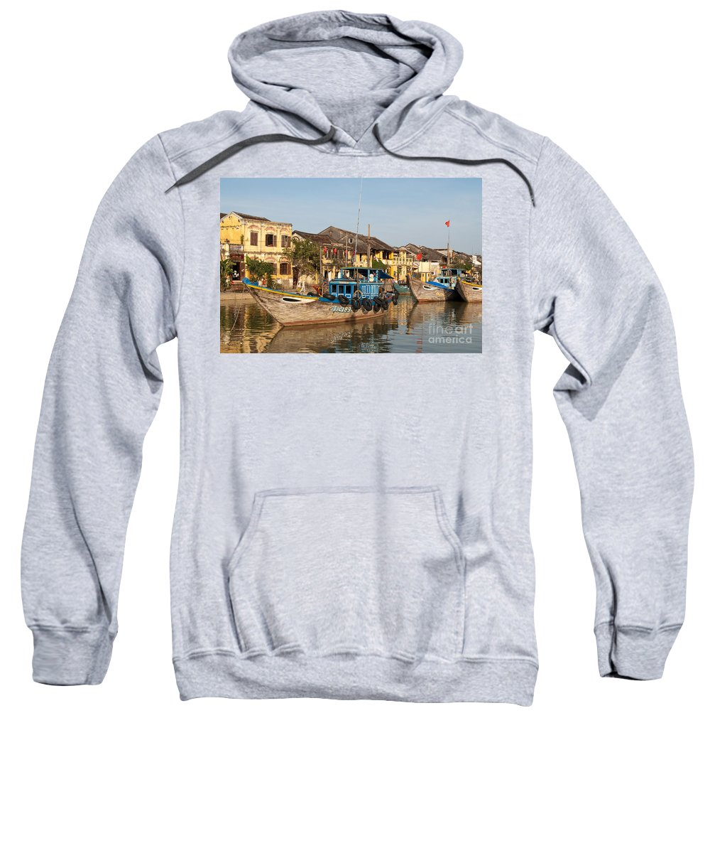 Vietnam Sweatshirt featuring the photograph Hoi An Fishing Boats 03 by Rick Piper Photography