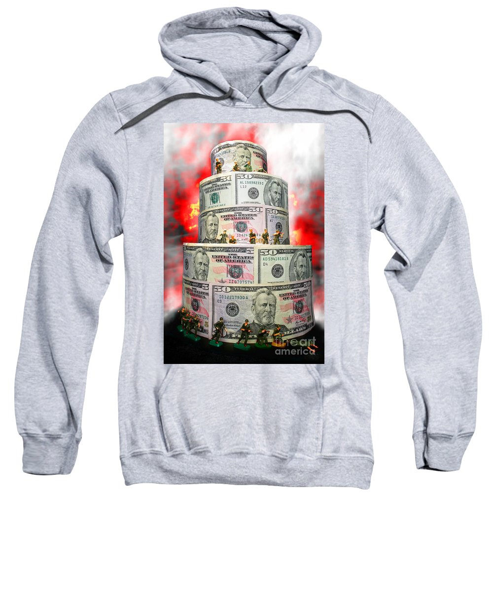 War Sweatshirt featuring the photograph Holding The Financial Fort by Olivier Le Queinec