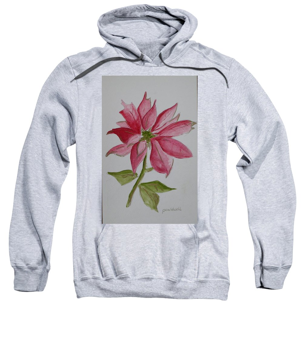 Flower Christmas Sweatshirt featuring the painting Holiday Flower by Patricia Caldwell