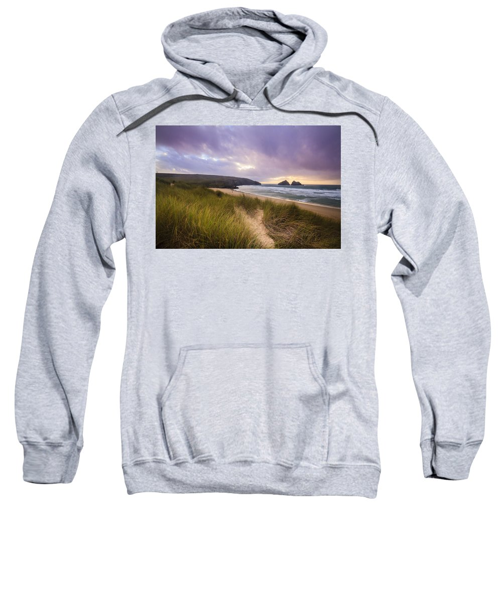 Holywell Bay Sweatshirt featuring the photograph Holywell Bay Spectacular Sunset by Chris Smith