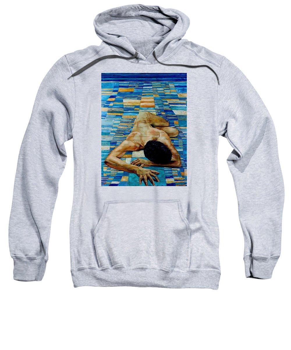 Klee Sweatshirt featuring the painting Homenaje A Paul Klee by Nancy Almazan