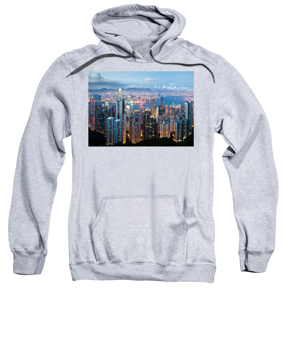 Hong Kong Sweatshirt featuring the photograph Hong Kong At Dusk by Dave Bowman